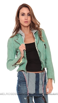 Doma Vintage Stone Mint Leather Jacket with Removable Hood