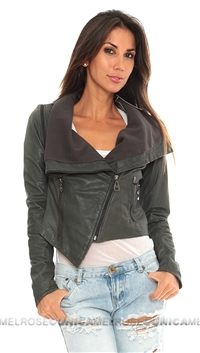 Doma Grey Leather Jacket with Removable Sleeves