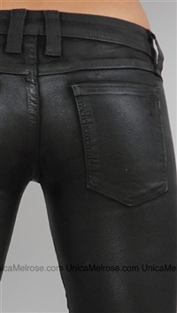 Frankie B Black Skinny Leather Wax Patch Jean