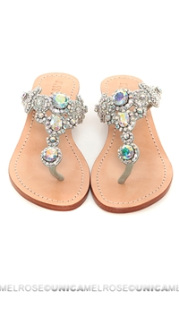 Mystique Silver On Silver Jeweled Wedges