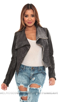Doma Vintage Black Leather Jacket w Removable Sleeves