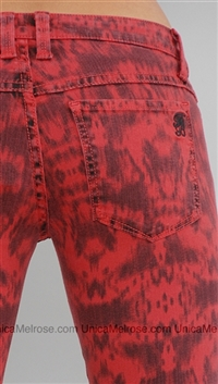 Frankie B Red and Black Pattern Jean