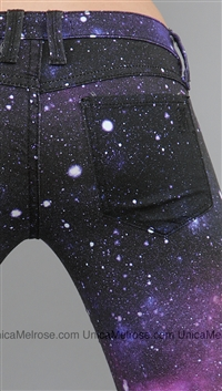 Frankie B Black and Violet Constellation Skinny Jeans