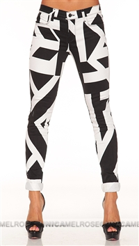 J Brand Black and White Pattern Super Skinny Jeans