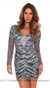 Jovani Grey Sequin Long Sleeve Dress