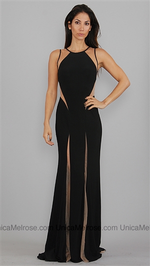 Jovani Black and Nude Cut Out Long Dress