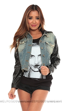 JET by John Eshaya Blue Jean Hoodie Jacket with Leather