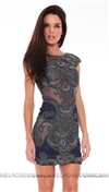 Musani Gold Navy with Silver Beaded Embroidery Backless Mini Dress
