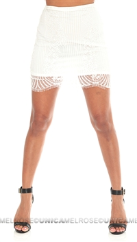 For Love & Lemons White Lace Mini Skirt