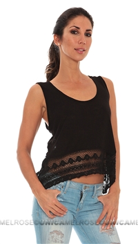 Ocean Drive Black Lace Crop Tank