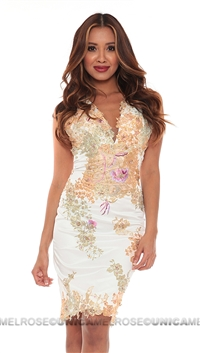 Mandalay White Spandex Woven Dress