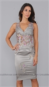 Julian Joyce Grey Purple Sequin Lace Dress