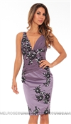 Julian Joyce by Mandalay Violet Lace and Jewel Dress