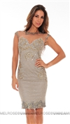 Mandalay Pewter Beaded Embroiderey Cocktail Dress