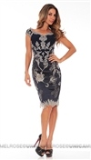 Mandalay Navy Boat Neck Cap Sleeve with Silver Beaded Embroidery Cocktail Dress