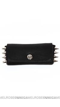 Ventidue Black Carmen Leather Silver Studded Convertible Clutch