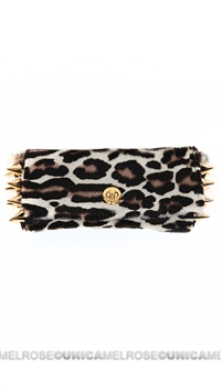 Ventidue White Carmen Pony Leopard Gold Studded Convertible Clutch