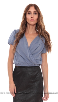 NightCap Periwinkle 70's Silk Wrap Blouse