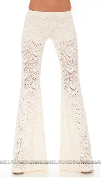 Nightcap Cream Lace Wide Leg Pants