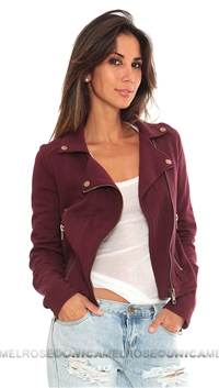 Chaser Burgundy Fleece Moto Jacket