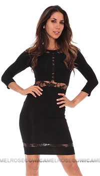 Donna Mizani Paneled Lace Dress