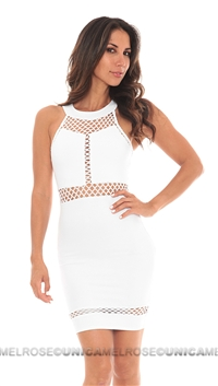 Donna Mizani White Paneled Halter Dress