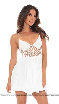Indah White Crotchet Bustier Short Dress
