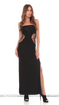 Indah Black Modal Slub Tube Dress