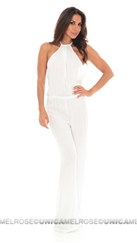 Indah White Rayon Crepe Open Back Long Playsuit