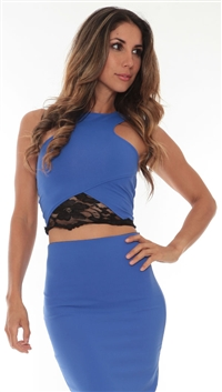 Donna Mizani Blue Lace Evening Top