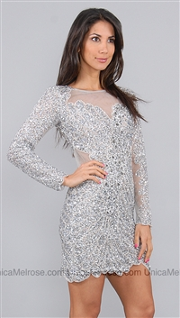 Basix Silver Sequin Long Sleeve Dress