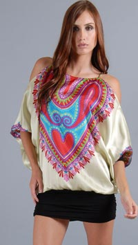 Voom Multi Color Heart One Shoulder Mini Dress