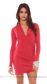 Savee Couture Red Double Wrap Dress