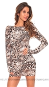 Savee Couture Animal Open Back Dress