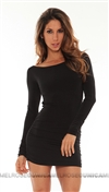 Savee Couture Black Open Back Dress