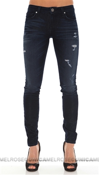 Denim of Virtue Dark Blue Distressed Skinny Pants