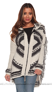 Free People Black and White Fringe Zip Up Sweater