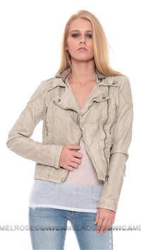 Free People Light Grey Vegan Leather Moto Jacket