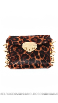 Ventidue Brown Pony Leopard Gold Studded Convertible Clutch