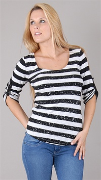 Twisted Heart Black Stripe Sequins Tee