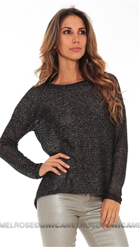 Generation Love Black Glitter Mesh Long Sleeve Sweater