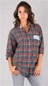 Riley Vintage One of a Kind Flannel Button Up Tee