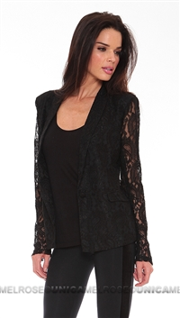 Lovers and Friends Black Lace Button Blazer