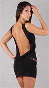 Leiluna Collection Sleeveless Classic Backless Black Dress