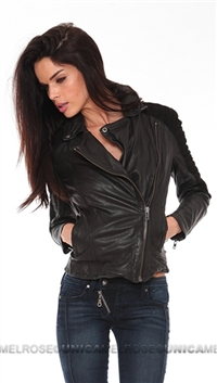 Muubaa Black Quilted Leather Suede Mix Biker Zip Jacket