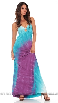 Michelle Jonas Tye Dye Keyhole Long Dress