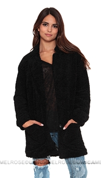 Mink Pink Black 'Harajku Kid' Fuzzy Jacket