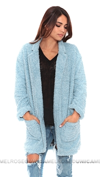 Mink Pink Powder Blue 'Harajku Kid' Fuzzy Jacket