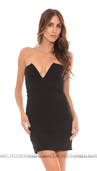 Nookie Black Rubix V Front Bustier Dress