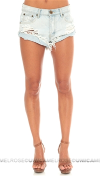 One Teaspoon Light Brando Shorts Cut Off Denim Shorts